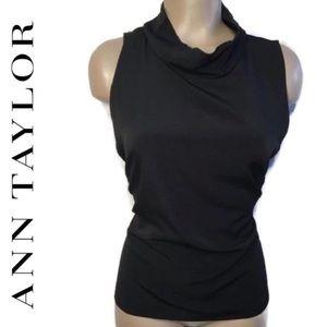 Ann Taylor Black Sleeveless Roll Neck Top L